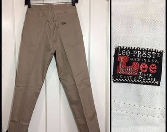 1960s deadstock Lee Leesures Prest tapered peg leg jeans pants measures 29x29 tan beige mod Ivy League preppy Talon made in USA NOS #361