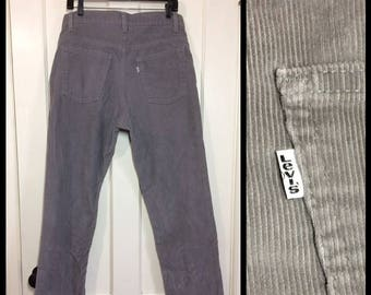 1980s Levis 519 corduroys 36x31, measures 34x30 gray straight leg cords made in USA #1611