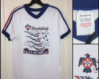 1970s US Air Force Thunderbirds ringer v-neck shoulder stripes t-shirt size medium 17.5x25 made in USA white blue red USAF military planes