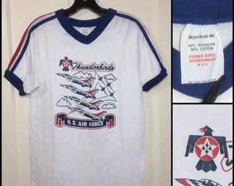 1970s US Air Force Thunderbirds ringer v-neck shoulder stripes t-shirt size medium 17.5x25 made in USA white blue red USAF military planes