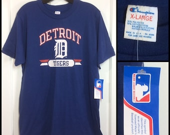 deadstock 1980s nos nwt Detroit Tigers baseball team blue t-shirt size XL 20X28, looks large Champion brand made in USA