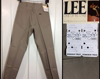 1960s deadstock Lee Leesures Prest tapered peg leg jeans pants measures 30x30 tan beige mod Ivy League preppy Talon made in USA NWT NOS #360