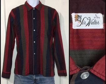 1950s 1960s dark red brown black burgundy wide vertical stripe cotton shirt size large by Sir Walter rockabilly beatnik grunge punk