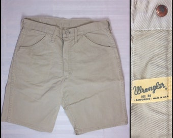1960s Wrangler Sanforized off white denim jeans shorts measures 30 inch waist made in USA