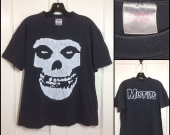 distressed 1990s faded black The Misfits t-shirt size large 21x24 all cotton punk rock goth grunge skull
