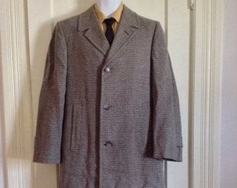 deadstock 1950s Rockabilly Fleck Speckled Tweed long Overcoat Coat looks size Large Gray plaid