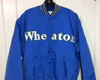 1980s Wheaton College nylon quilted bomber jacket size XL sewn patch letters blue white green