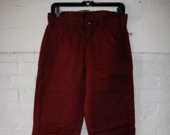 deadstock 1970s Ely workwear dark burgundy work pants 31X33 tall Talon zipper