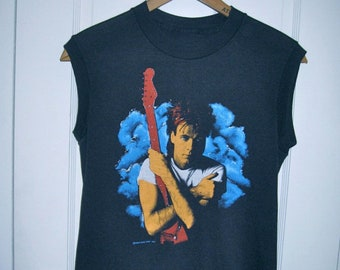 Vintage Rick Springfield 1984 World Tour Concert Rock Band Muscle sleeveless T-shirt looks size Small