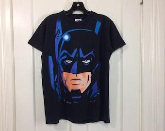1990s 1995 faded black Batman neon day glow print t-shirt size youth XL 19x24 DC Comics cartoon super hero cotton made in USA