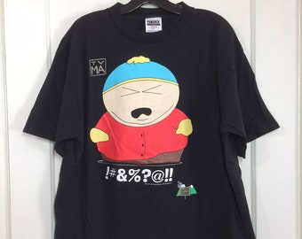 1990s South Park Cartman character t-shirt size XL 22x29 Comedy Central black all cotton made in USA 1997 barely used condition