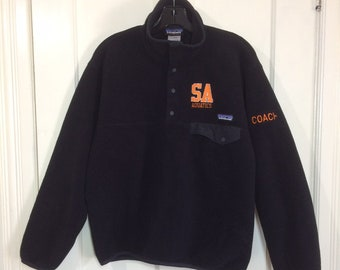 black Patagonia Synchilla snap T fleece pullover jacket size small embroidered customized SA Aquatics Coach Picciotto swimming sports