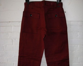 deadstock 1970s Ely workwear dark burgundy work pants 31X33 tall Talon zipper