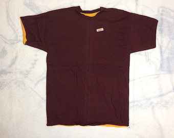 deadstock 1970s Champion blue bar reversible double t-shirt size XL, looks large 21x29 cotton made in USA burgundy gold yellow plain blank