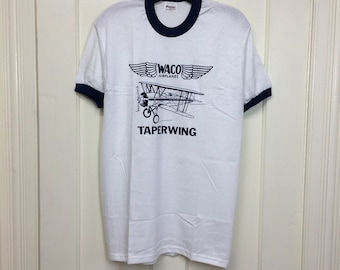 deadstock 1980s Waco Tapering vintage small airplane t-shirt size large 19x28 pilot aircraft ringer tee Stedman made in USA NOS