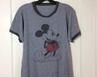 1970s Mickey Mouse Heather Gray Tri Blend faded Ringer T-shirt looks size Medium 19x24 perfectly worn in