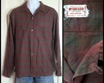 1950s McGregor Shadow Plaid cotton Loop Shirt size XL dark muted colors Olive Burgundy matched pockets As-Is