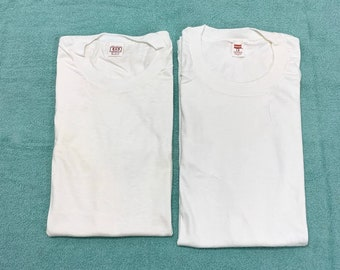 pick one- 1960s deadstock Hanes or BVD blank t-shirt size large white cotton single stitch made in USA plain undershirt