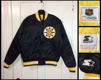 1980's Black Starter Jacket size Medium Boston Bruins NHL Hockey Sports Team Satin quilted Bomber made in USA