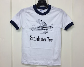 kids deadstock Starduster Too vintage biplane airplane t-shirt boys youth size medium 13x18 pilot aircraft ringer tee Hanes made in USA NOS