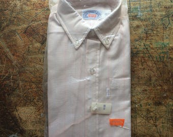 deadstock Vintage 1970's Levi's white tab Tan w rainbow pin stripes button down collar Shirt size 14 Small new in bag nos nwt still pinned