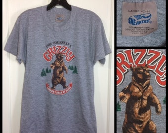 1980s Grizzly Bear Beer t-shirt size large 18x25 soft tri-blend heather gray rayon Sneakers brand made in USA
