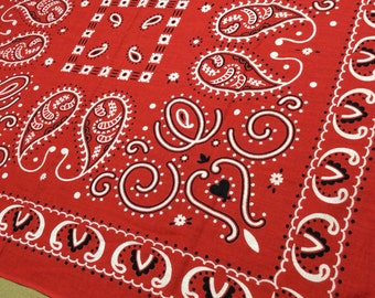 1930's Elephant Trunk Down Black Hearts cattle Rancher Paisley red Bandana 23x21 Fast Color all Cotton dbl selvedge Polka Dots Flowers #33