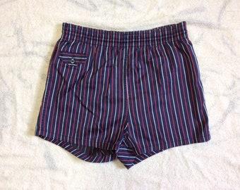 1950s red white blue striped surfer swimsuit boxer short shorts swim trunks looks size medium soft cotton rayon beach preppy ivy league