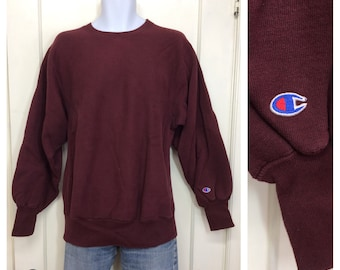 1980s burgundy red Champion Reverse Weave pullover sweatshirt size large made in USA solid blank soft