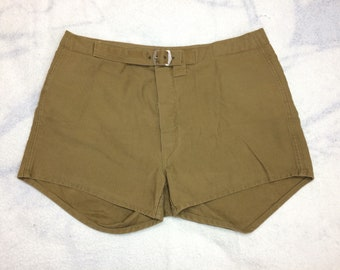 "1910s 1920s basketball uniform shorts size 33"" waist padded olive green brown cotton button fly buckle front stamped antique sportswear"
