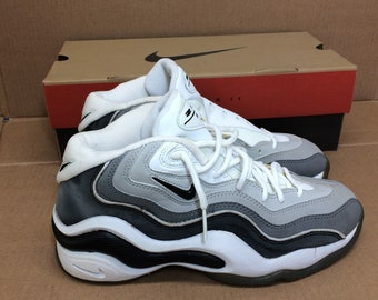 deadstock Nike Air Zoom Flight 96 basketball shoes size 8.5 black white gray swoosh trainers kicks sneakers 1990s NIB new in box