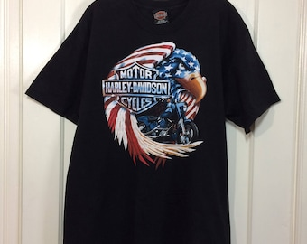 2000 Harley Davidson Motorcycle black cotton t-shirt size Large 21x28.5 Myrtle Beach South Carolina Eagle American Flag made in USA