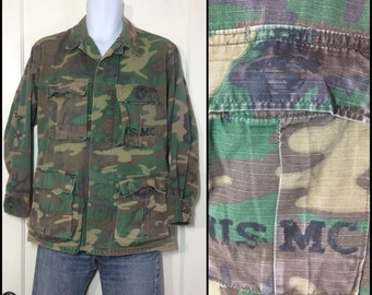 1960s 70s Military Rip Stop USMC stamped Camouflage Field Jacket size Small Faded worn soft cotton camo fatigues