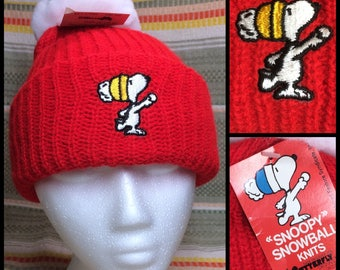 1980's deadstock knit stocking cap hat by Snoopy Snowball Knits huge 5 inch pompom red embroidered NOS NWT the Peanuts