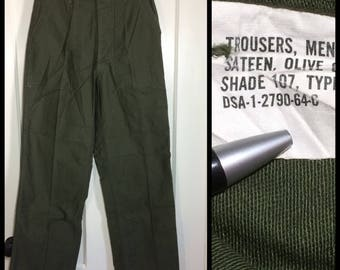 1960s 1964 Vietnam War 4 pocket side straps US Military field cotton sateen utility trousers measures 28x29 Army green baker pants #110