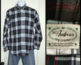 Deadstock Vintage Plaid Button Down Collar Matt Andrews Ivy League Brushed Rayon Shirt size Medium Green Blue Red White NOS