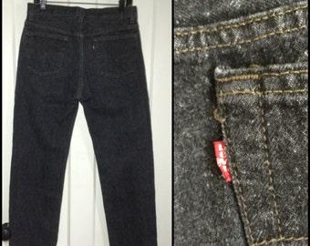 Vintage Levi's Black 501 button fly jeans, label reads 34X30, measures 32x30 Straight Leg black denim made in USA Boyfriend jeans #1245