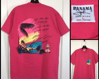 1990s hot pink Panama Jack tropical beach scene neon print t-shirt size large 20.5x28 made in USA Hawaii sunset palm trees summer surfer