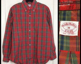 Vintage Brooks Brothers light weight soft all cotton dress shirt size 16 medium large red olive green blue yellow plaid Ivy League preppy