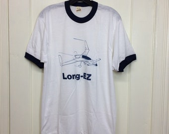 deadstock 1980s Rutan Long EZ vintage aircraft small airplane t-shirt size large 20x27 pilot ringer tee Screen Stars made in USA NOS