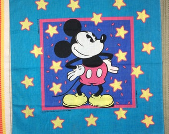 deadstock 1980's Walt Disney Mickey Mouse novelty bandana 22x22 turquoise pink yellow stars nos made in USA #76
