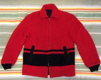1950s reversible fleece nylon red black striped jacket looks size medium rockabilly clicker coat car club