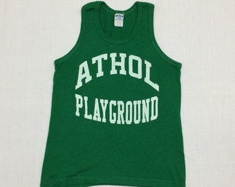 1980s Athol Massachusetts playground staff tank top looks size XS made in USA Kelly green sportswear