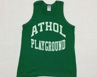 1980s Athol Massachusetts playground staff tank top looks size XS made in USA Kelly green sportswear