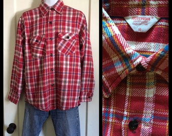 vintage 1950's Frostproof Sanforized Heavy Flannel plaid shirt size 16 Red white Blue