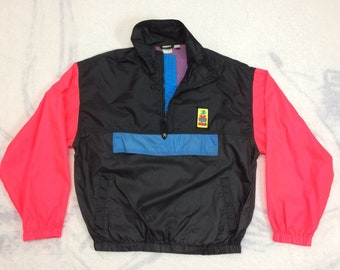 1980s OP Ocean Pacific neon color block nylon Extreme Air half zip pullover windbreaker jacket size medium surfer beach