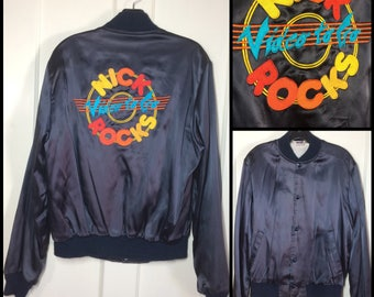 1970s Nick Rocks Video to Go! embroidered embroidery satin bomber jacket LP records VHS rainbow size medium dark blue