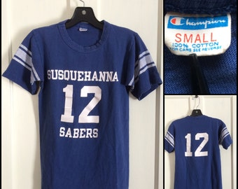 1970s Susquehanna Sabers #12 t-shirt size Small, looks XS 15x23.5 Champion Blue Bar all cotton Football Jersey tee single stitch made in USA