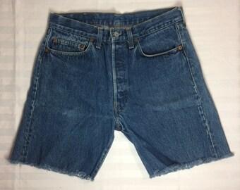 1980's slightly faded Levi's 501 cut off Shorts w.32 measured 30 inch waist skate punk grunge hippie boho boyfriend blue jeans made in USA