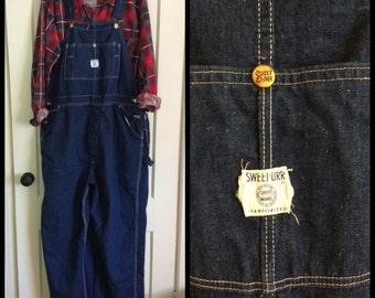 Vintage Sweet Orr Sanforized denim overalls size 46 x 30 Union Made
